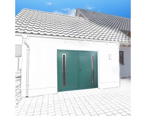 Photo Porte de garage Zad à 2 vantaux vert
