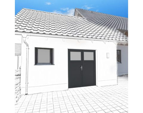 Photo Porte de garage Zad à 2 vantaux gris anthracite