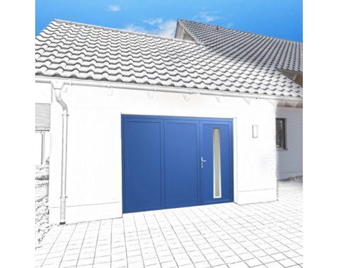 Photo Porte de garage Zad à 3 vantaux bleue