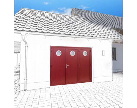 Photo Porte de garage Zad à 3 vantaux rouge avec hublots