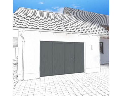 Photo Porte de garage Zad à 4 vantaux anthracite