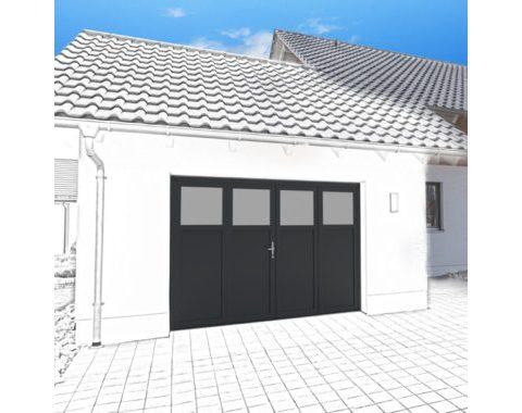 Photo Porte de garage Zad à 4 vantaux vitrée