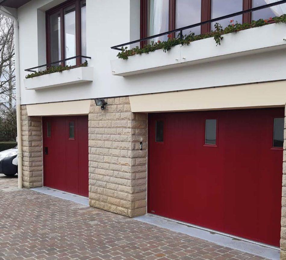 double porte de garage coulissante rouge