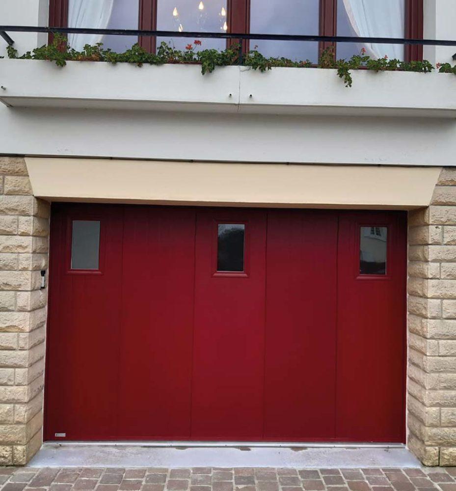 porte de garage coulissante laterale rouge