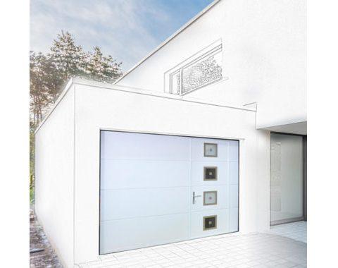 Photo Porte de garage sectionnelle Osilys à portillon